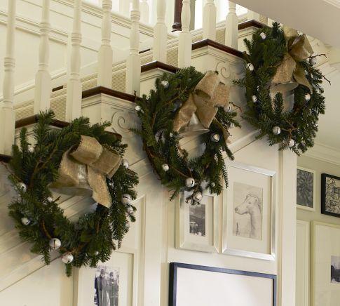 Green wreaths christmas railings