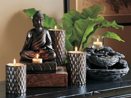 living room decor with statues