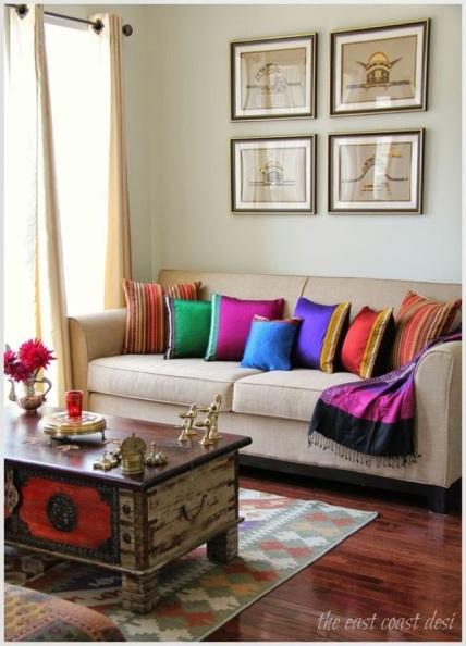 Bright cushions decor