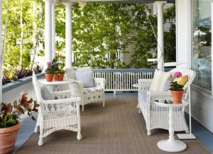 Cane patio set in the balcony