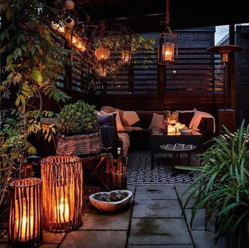 Terrace decor with candles