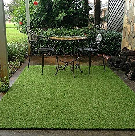 Artificial grass in patio