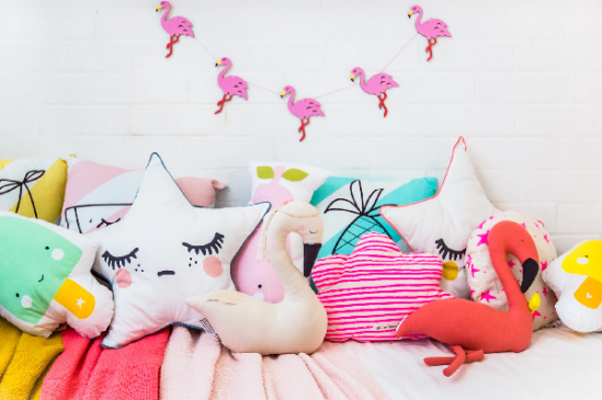Printed cushions in the children room