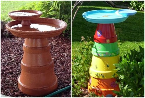 Teracotta and clay pot bird baths