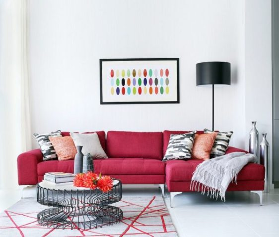 Colourful cushions in the living room