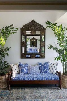 ornate mirror in living room