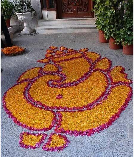 Ganesh Rangoli at the entrance