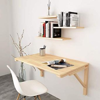 folding table mounted on the wall