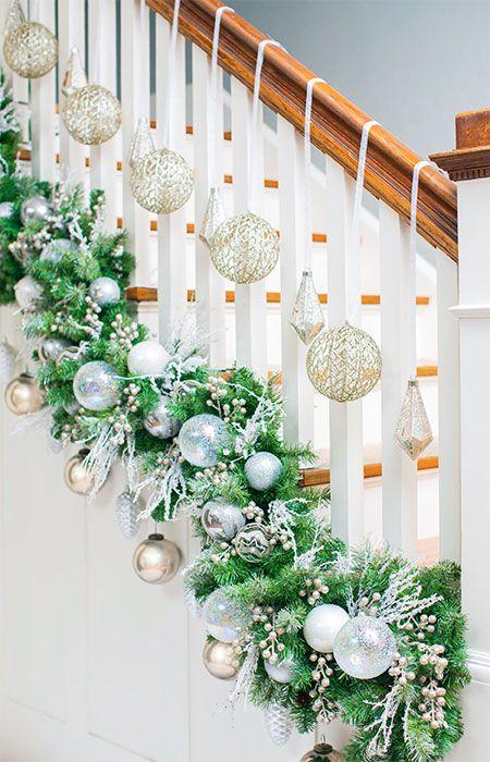 green and white christmas railing decor